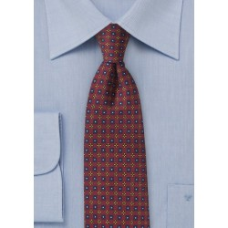Intricate Foulard Print Tie in Burgundy
