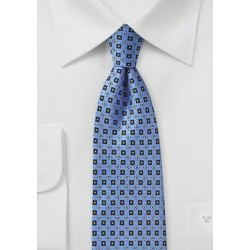 Blue Foulard Tie with Yellow and Cream Accents