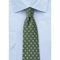 Forest Green Floral Silk Tie