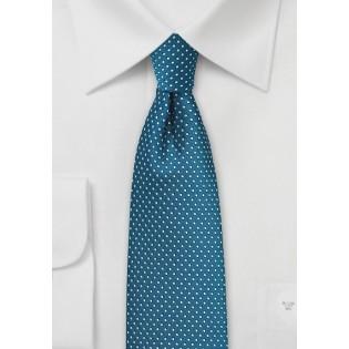 Teal Pin Dot Tie in Skinny Cut