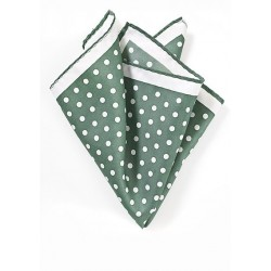 Green and White Polka Dot Pocket Square