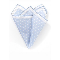 Pale Blue and White Polka Dot Pocket Square