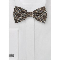 Autumn Plaid Bow Tie in Brown
