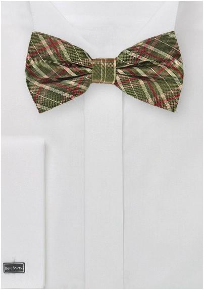 Tartan Plaid Bow Tie in Olive Green