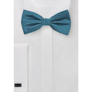 Teal Pin Dot Bow Tie