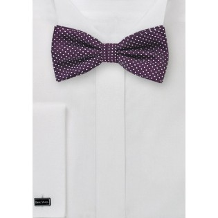 Eggplant Colored Pin Dot Bow Tie