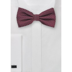 Elegant Pin Dot Bow Tie in Burgundy