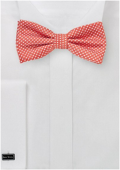 Pin Dot Bow Tie in Summer Coral