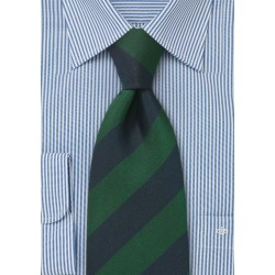 Repp Stripe Kids Tie in Navy and Green