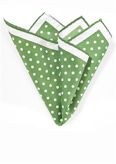 Grass Green Polka Dotted Pocket Square