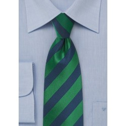 Diagonal Striped Kids Tie in Hunter Green and Navy