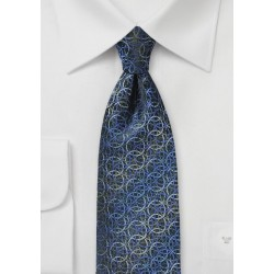 Circular Graphic Print Tie in Blues