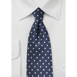 Navy Silk Tie with Silver