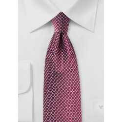 Micro Check Tie in Red and Blue