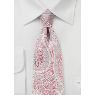 Coral Red and Gray Paisley Tie
