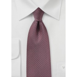 Woven Silk Tie in Port Red