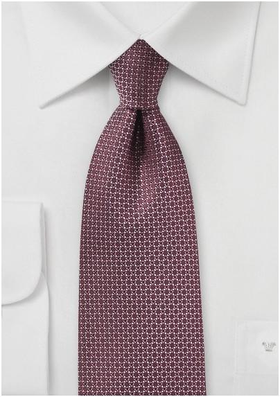 Woven Silk Tie in Port Red