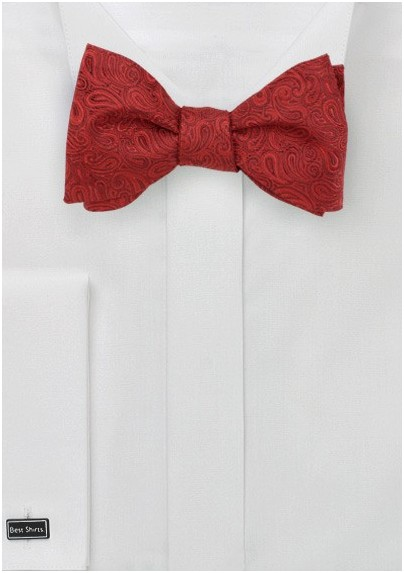 Rich Red Paisley Bow Tie in Self Tie Style