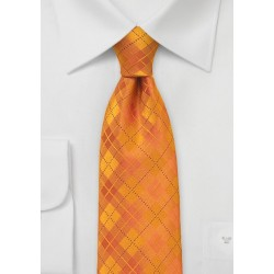 Bright Orange Plaid Tie in XL