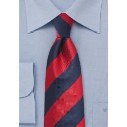Kids Repp Stripe Tie in Red and Navy