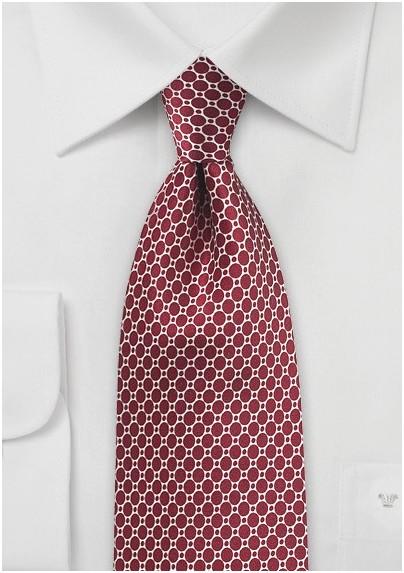 Garnet Red Silk Designer Tie