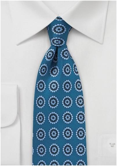 Medallion Print Tie in Light Blue