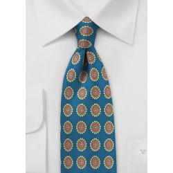 Vintage Medallion Print Silk Tie