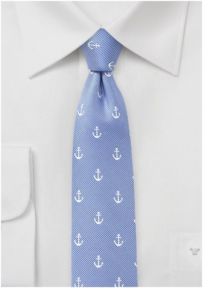 Light Blue Anchor Print Tie
