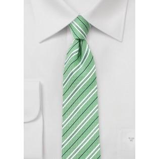 Cotton Skinny Striped Tie in Grass Green