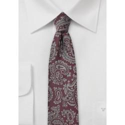 Skinny Paisley Tie in Burgundy