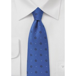 Royal Blue Silk Tie with Florals