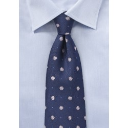 Navy Tie with Pink Embroidered Florals