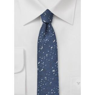 Trendy Wool Skinny Tie in Blue