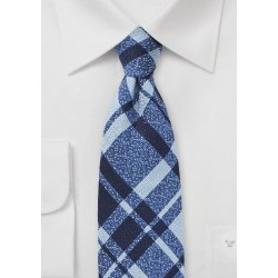 Wool Plaid Tie in Blue