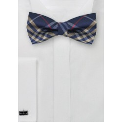 Tartan Plaid Bow Tie in Navy