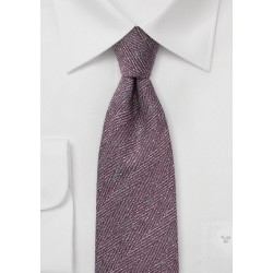 Herringbone Wool Tie in Winter Grape
