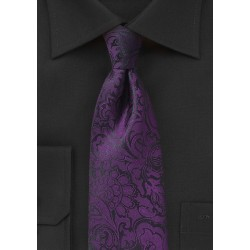 Kids Paisley Tie in Plum Purple