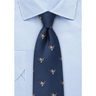 Silk Tie with Flying Ducks in Navy
