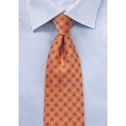 Textured Silk Tie in Amberglow Orange