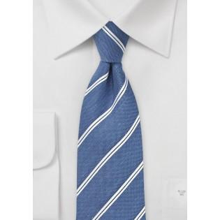 Silk and Linen Tie in Indigo Blue