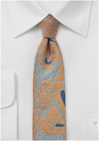 Gray and Orange Wool Skinny Paisley Tie