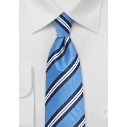 XL Repp Striped Summer Tie in Light Blue