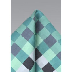 Patchwork Pocket Square in Mint and Silver