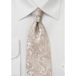 Champagne Silk Paisley Tie in XL