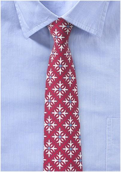 Geometric Tile Pattern Tie in Red