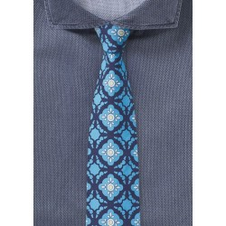 Tile Design Skinny Tie in Blue and Aqua