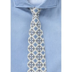 Spanish Tile Design Mens Tie in White, Gold, and Blue
