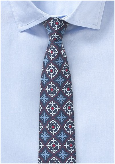 Mexican Tile Patterned Tie in Red, White, and Blue