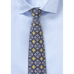 Navy, Yellow, and Red Tile Design Cotton Tie