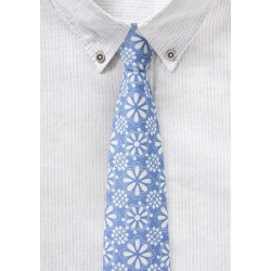 Pale Blue Floral Lace Cotton Tie